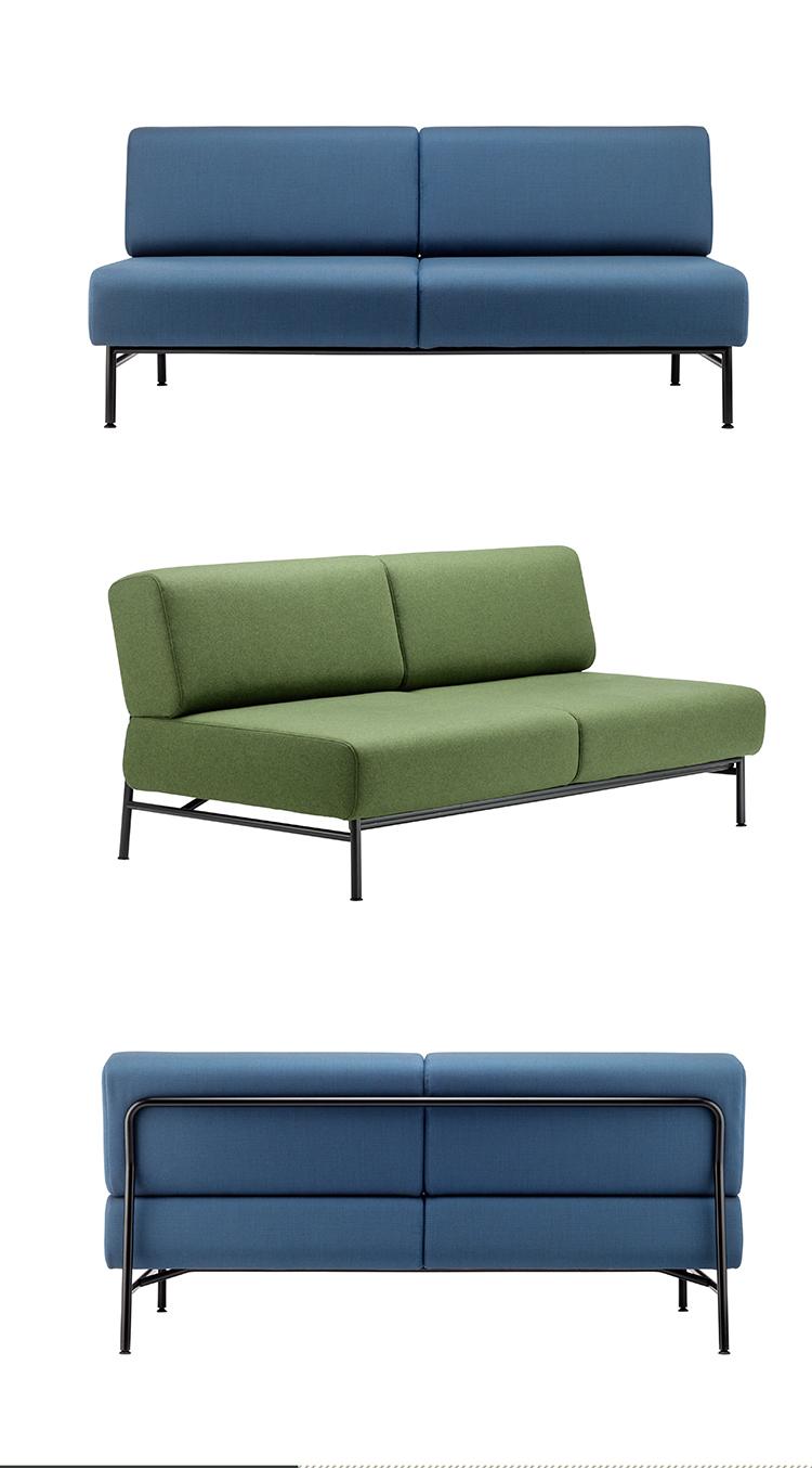 Metal Frame Base Legs Two Seats Fabric Cushion Sofa Chair Modern Office Loveseat Living Room