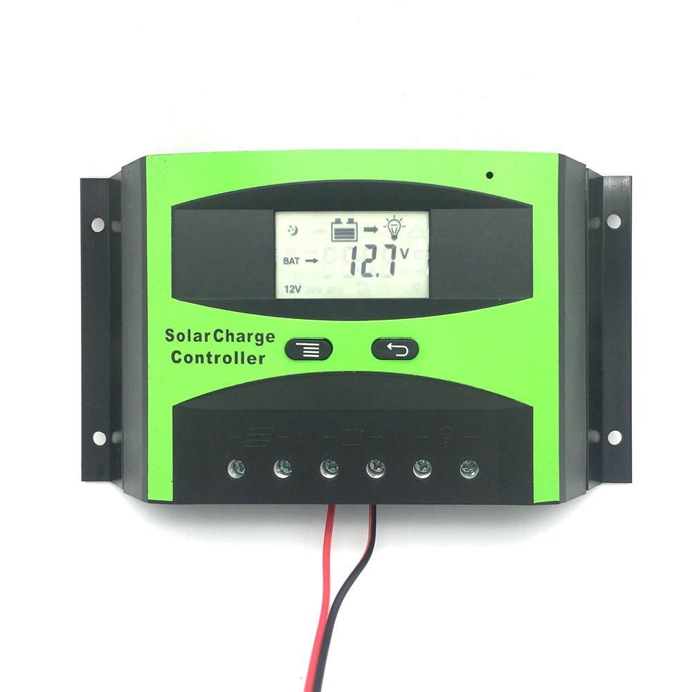 Vta-Tech Solar Charge Controller 40A 12V 24V Settable Parameter Function Current Voltage Temperature Complete Display Solar Regulator 40amp