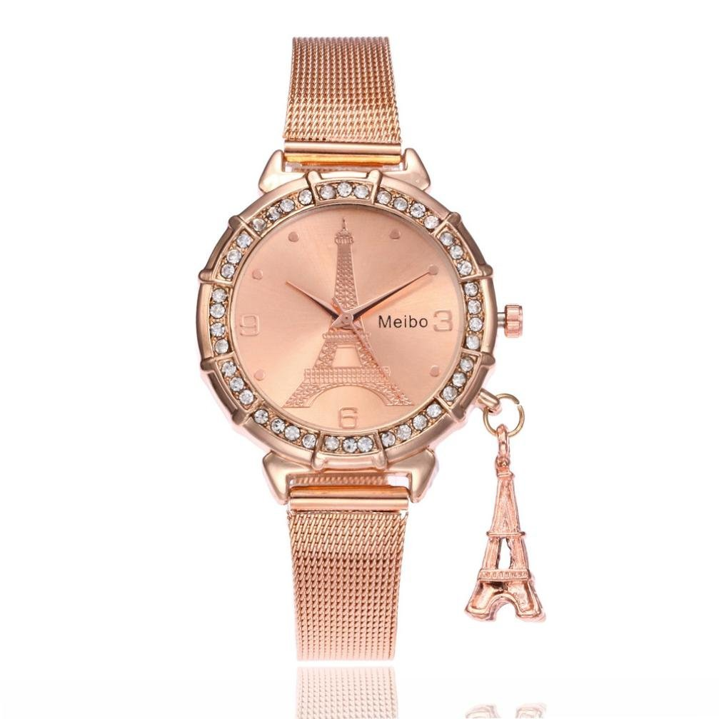 Hemlock Eiffel Tower Pendant Watches, Women Girls Stainless Steel Rhinestone Wrist Watch (Rosa gold)