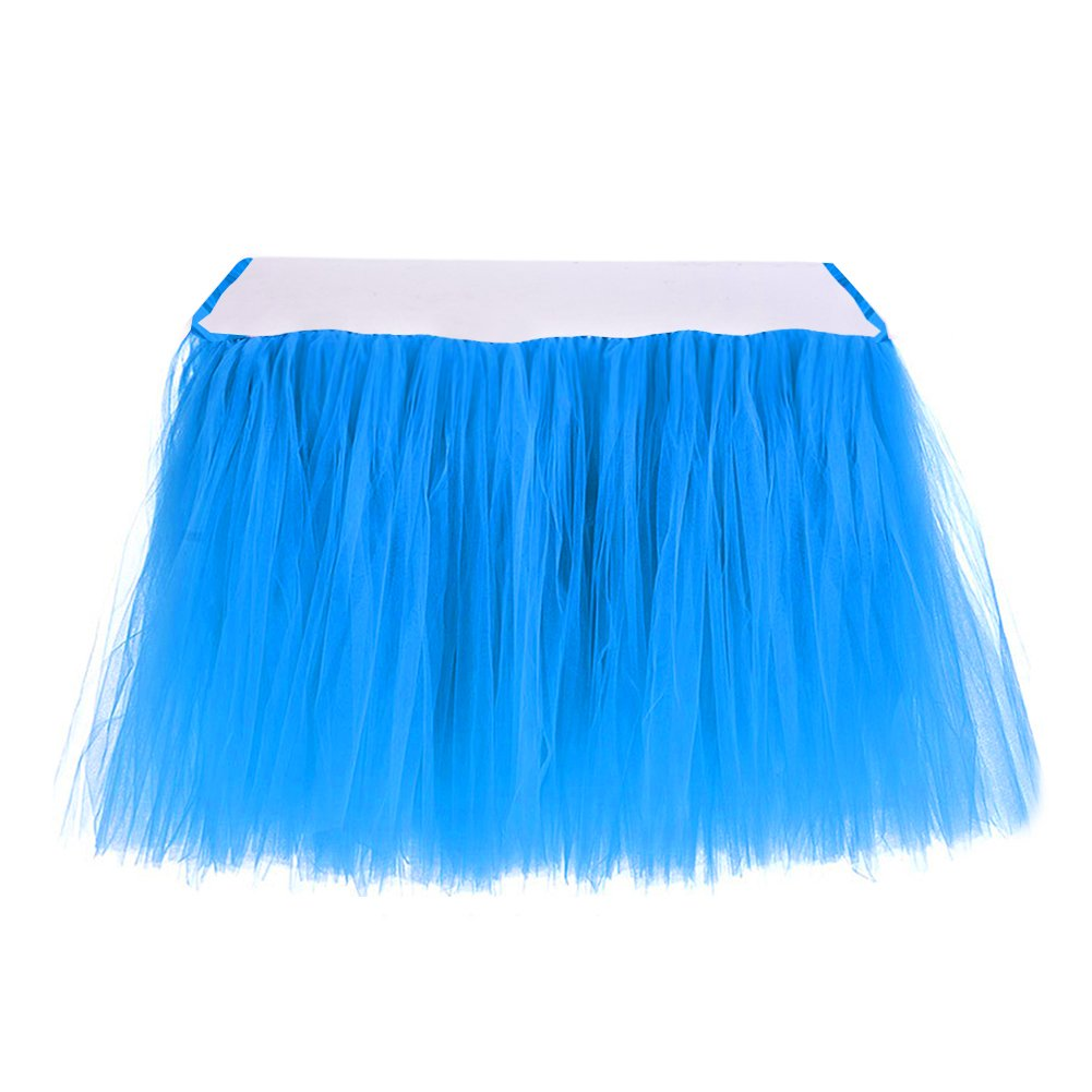 Table Skirt | 1 Yard Tutu Tulle Table Skirting Cover for Wedding, Birthday, Baby Shower, Slumber Party, Girl Princess, Home Decoration, Party Supplies (Blue)