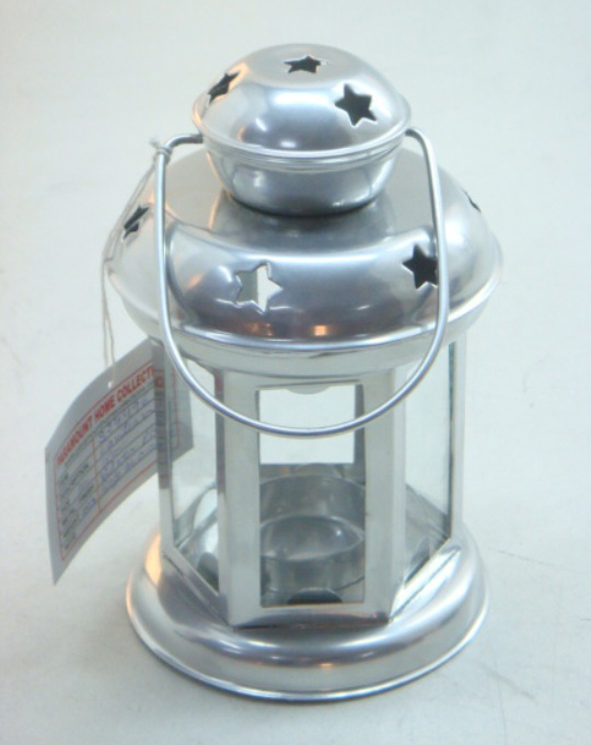 Tiny Top Star Cut Design Silver Color Metal Glass Hanging Lantern