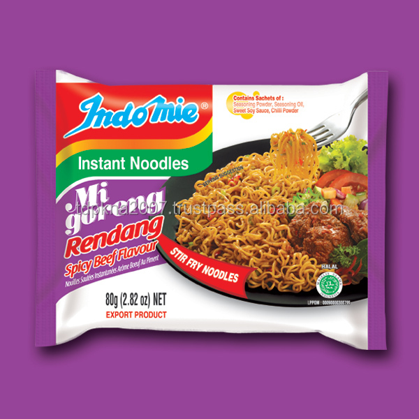 Popular Indomie Mi Goreng Rendang Instant Noodles With Spicy Beef Flavor