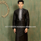 Black Art Silk Festival Wear Embroidered Work Kurta Pajama
