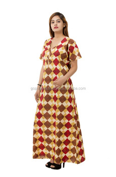 3f55fb6478 Pure cotton maxi nightdress indian women premium quality short sleeve  nightie hand print abstract gown