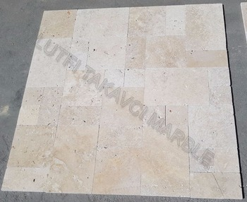 Light Travertine Commercial French Pattern Set 3 Cm Tumbled Paver - Turkish  Travertine - Buy Light Travertine,Turkish Travertine Pavers,Travertine