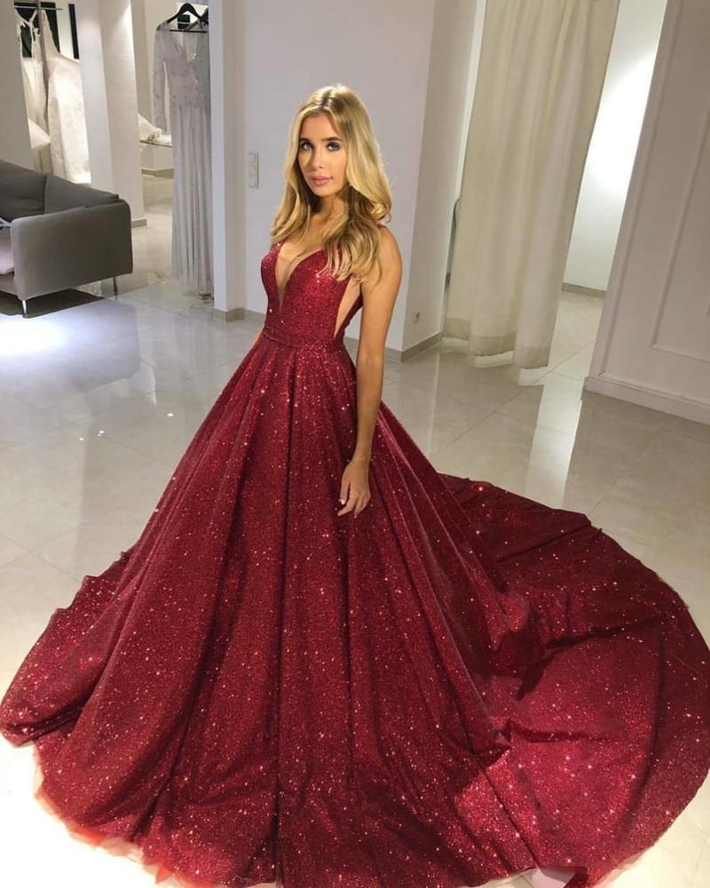 2af1b21d69 V Neck Burgundy Evening Party Dresses 2019 Ladies Long Prom Gowns Sparkle  Sequin A Line Elegant Robes de soiree