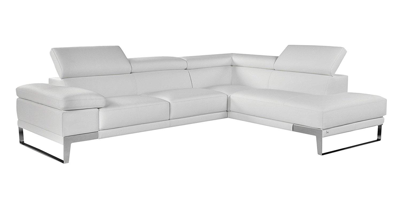 Soflex Meilani-Lu White Premium Italian Leather Sectional Sofa Modern Contemporary (Right)