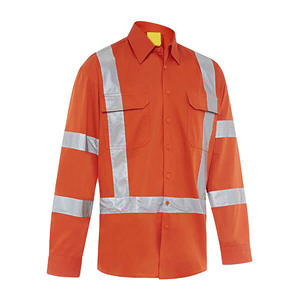 Long sleeve safety shirt wholesale reflective safety overall button down work shirt
