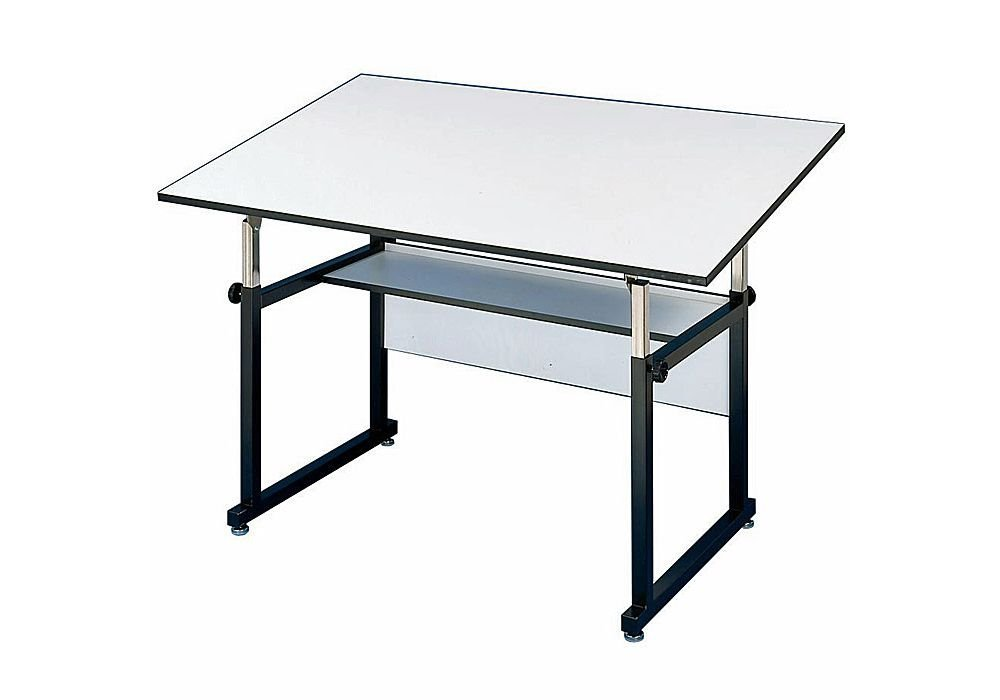 "Workmaster Four-Post Drafting Table With Black Base White Top/Black Base Dimensions: 48""W X 36""D X 29-46""H Weight: 100 Lbs"