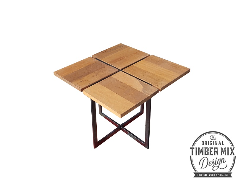 Special Modern Solid Balau Wood Coffee Table For Living Room Outdoor Furniture Clover Movable Wooden Side Square