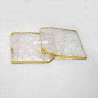 clear quartz coasters with gold trim crystal quartz coasters with gold edge coasters Mats & Pads
