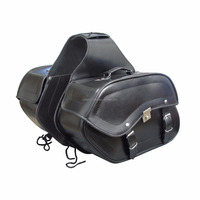 High-Style Motorbike Genuine Black Leather Saddle Bag