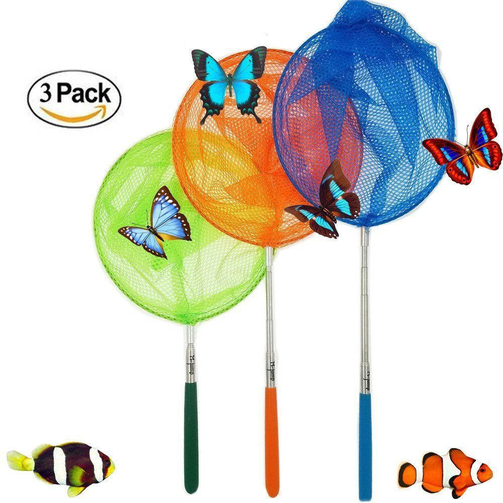 Telescopic Bug and Insect Catching Nets for Kids Expands up to 34 Inches Green Orange Pack of 3 Butterfly Nets 8 x 14.25 Inches Blue