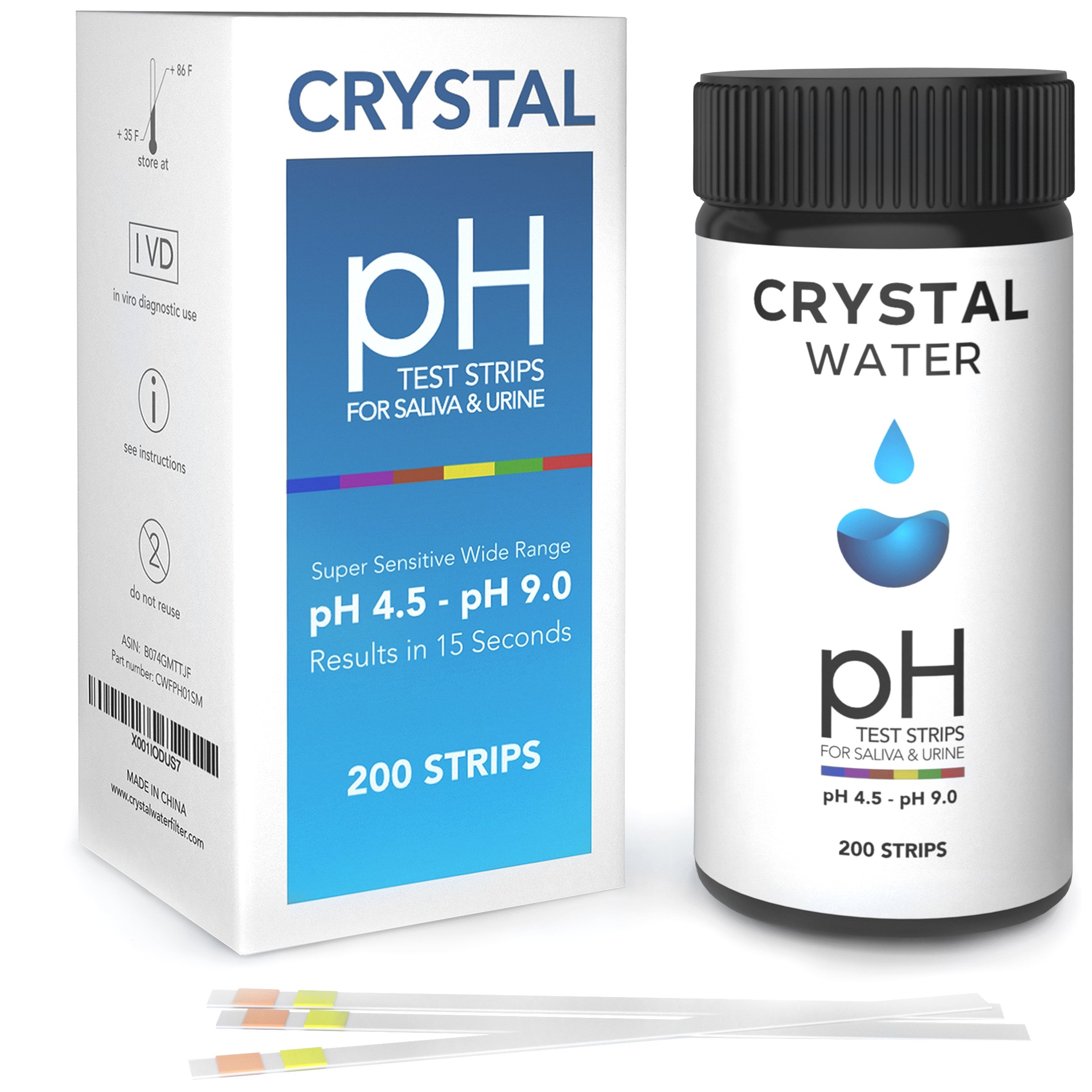 200ct PACK - CRYSTAL pH Test Strips for Urine and Saliva - pH Test Kit - Reagent Test strips for your Alkaline and Acid level Balance Your Bodies pH For Health and Diet