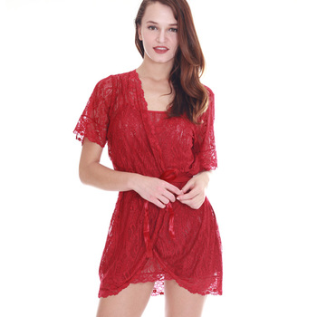 1a907368c5 Sexy Maroon Full Lace Robe With Matching Night Gown - Buy Red ...