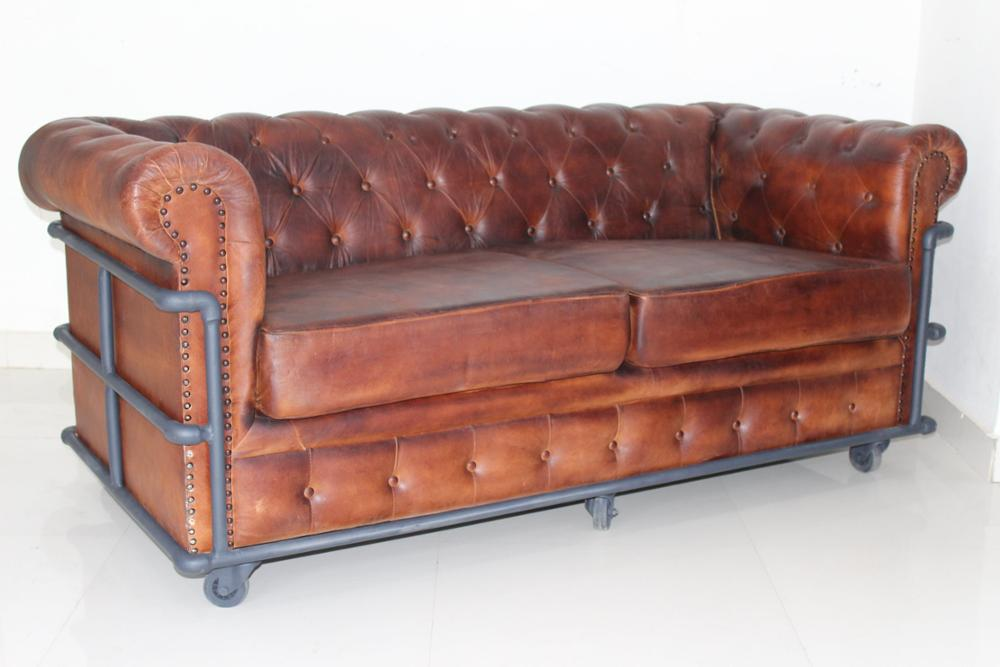 2 sitter chesterfield sofa genuine leather industrial sofa for Sofa industrial