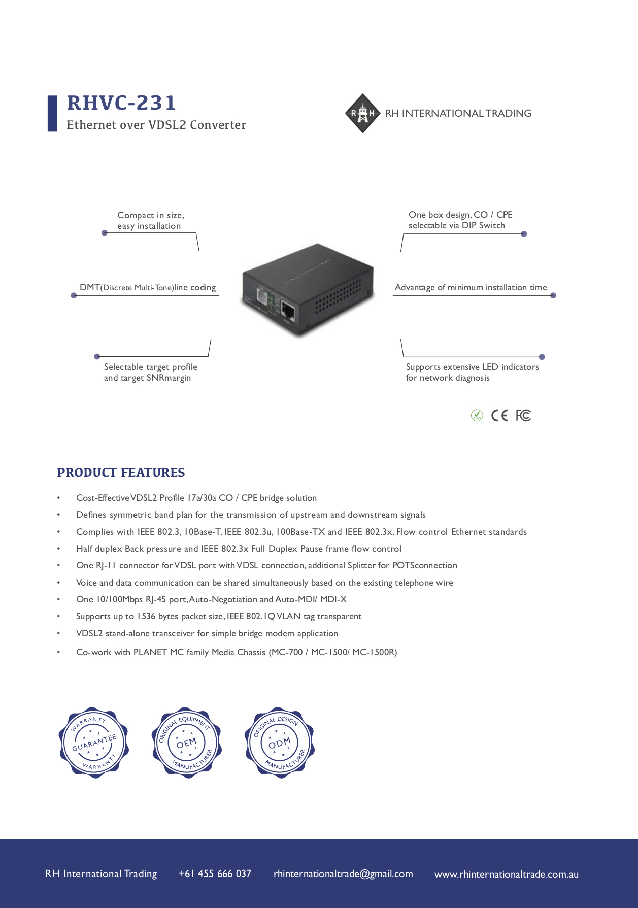 Ethernet Converter to VDSL2