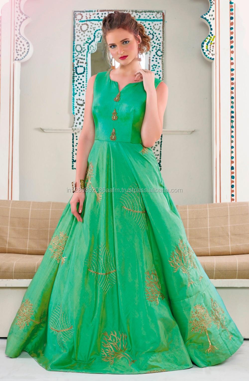 2f55228915ef13 Latest Fashion Women Wear Designer Sea Green Color Art Silk One Piece Flair  Gown