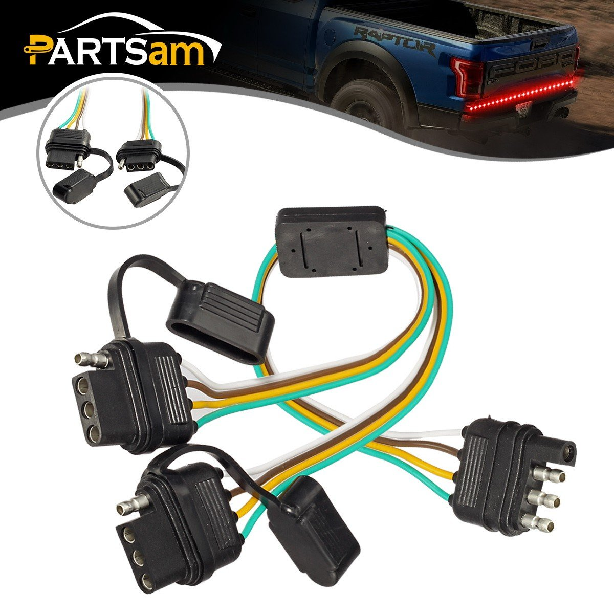 Cheap Trailer Wiring Harness Find Deals On A Plug Get Quotations Partsam 4 Way Flat Y Splitter Light Adapters Led Strip Brake Turn