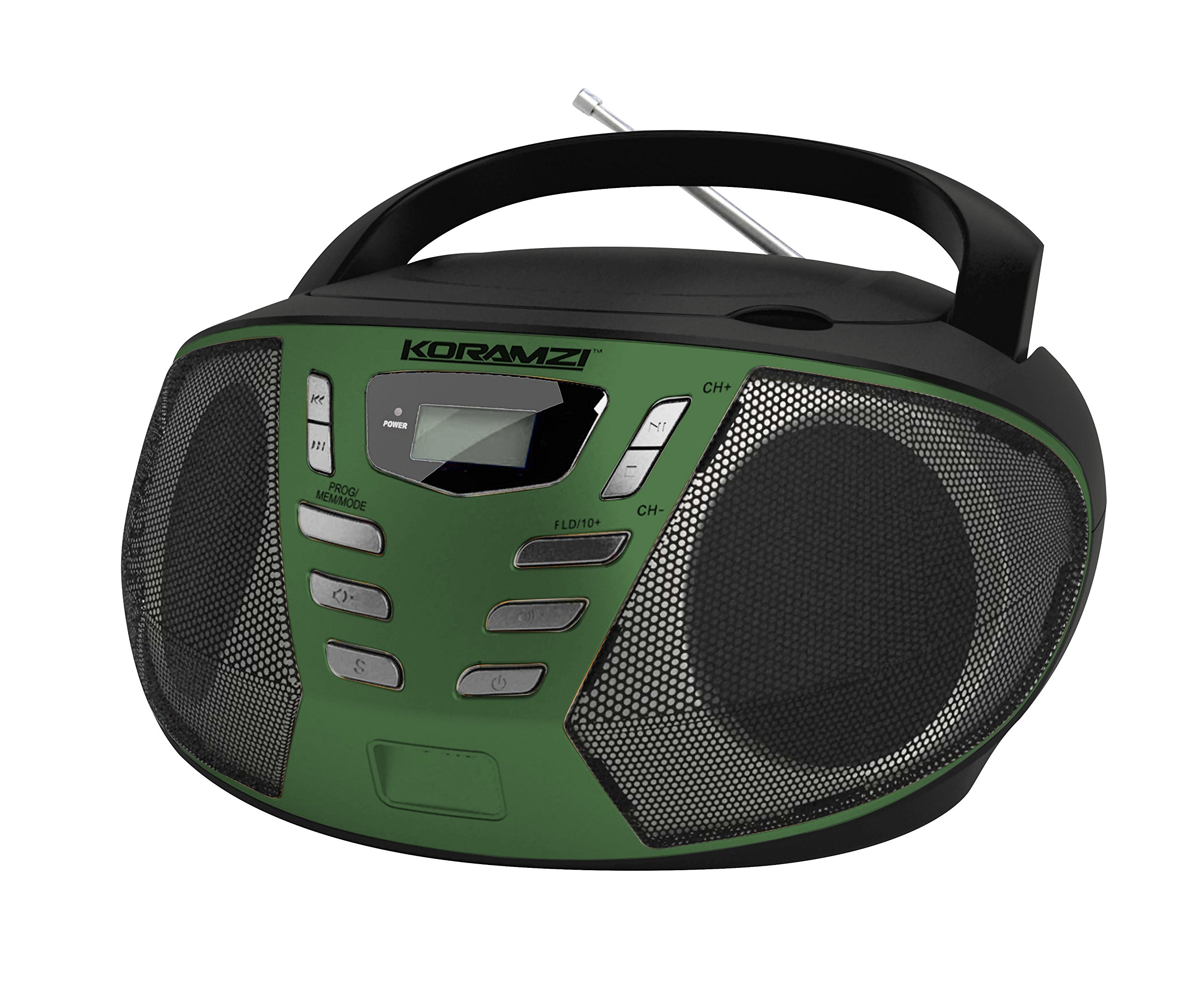 KORAMZI Portable CD Boombox with AM/FM Radio,AUX IN, Top Loading CD Player, Telescopic Antenna, LCD Display for Indoor & Outdoor,Offices,Home,Restaurants,Picnics,School ,Camping (Black/Green) CD55-BKG
