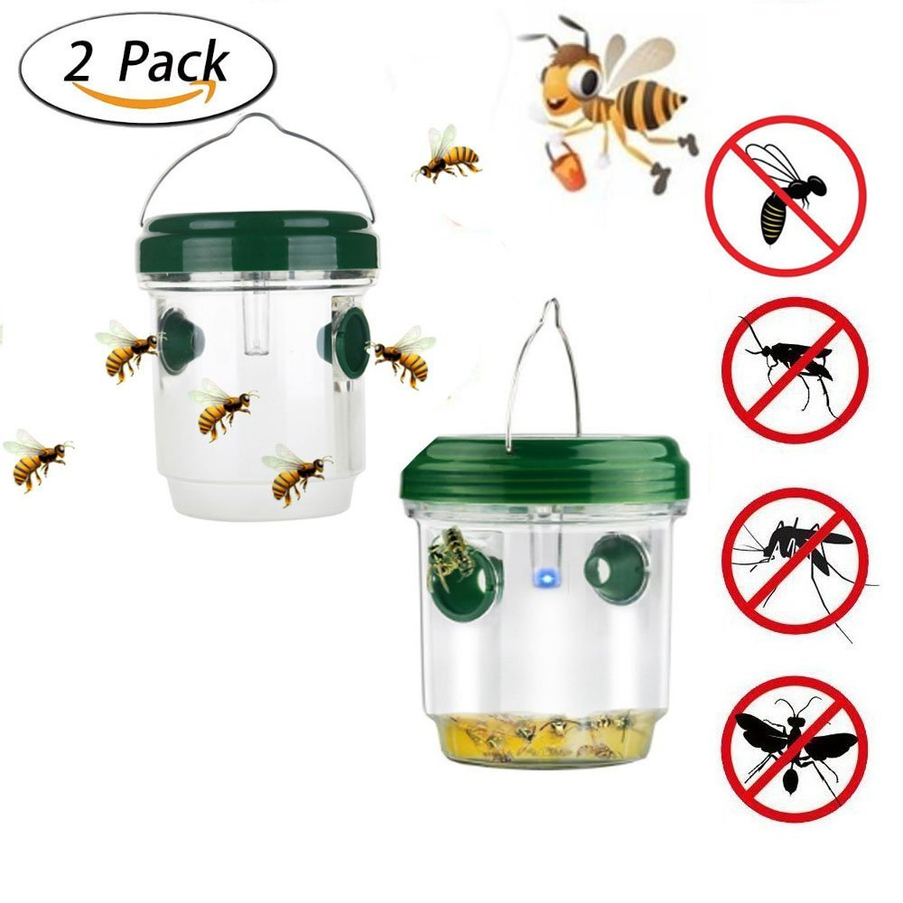 Hornets Bugs Yellow Jackets Bees Fly and More KOBWA Wasp Trap Catcher Effective and Reusable Outdoor Traps for Wasps Bee trap with Solar Powered Ultraviolet LED Light 2 Pack