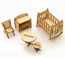 Baby Zimmer Möbel set Miniatur Puppenhaus <span class=keywords><strong>Holz</strong></span> <span class=keywords><strong>Spielzeug</strong></span> für kinder