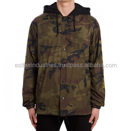 Camo Coaches Jackets / With Fleece HOODED Coach Jackets