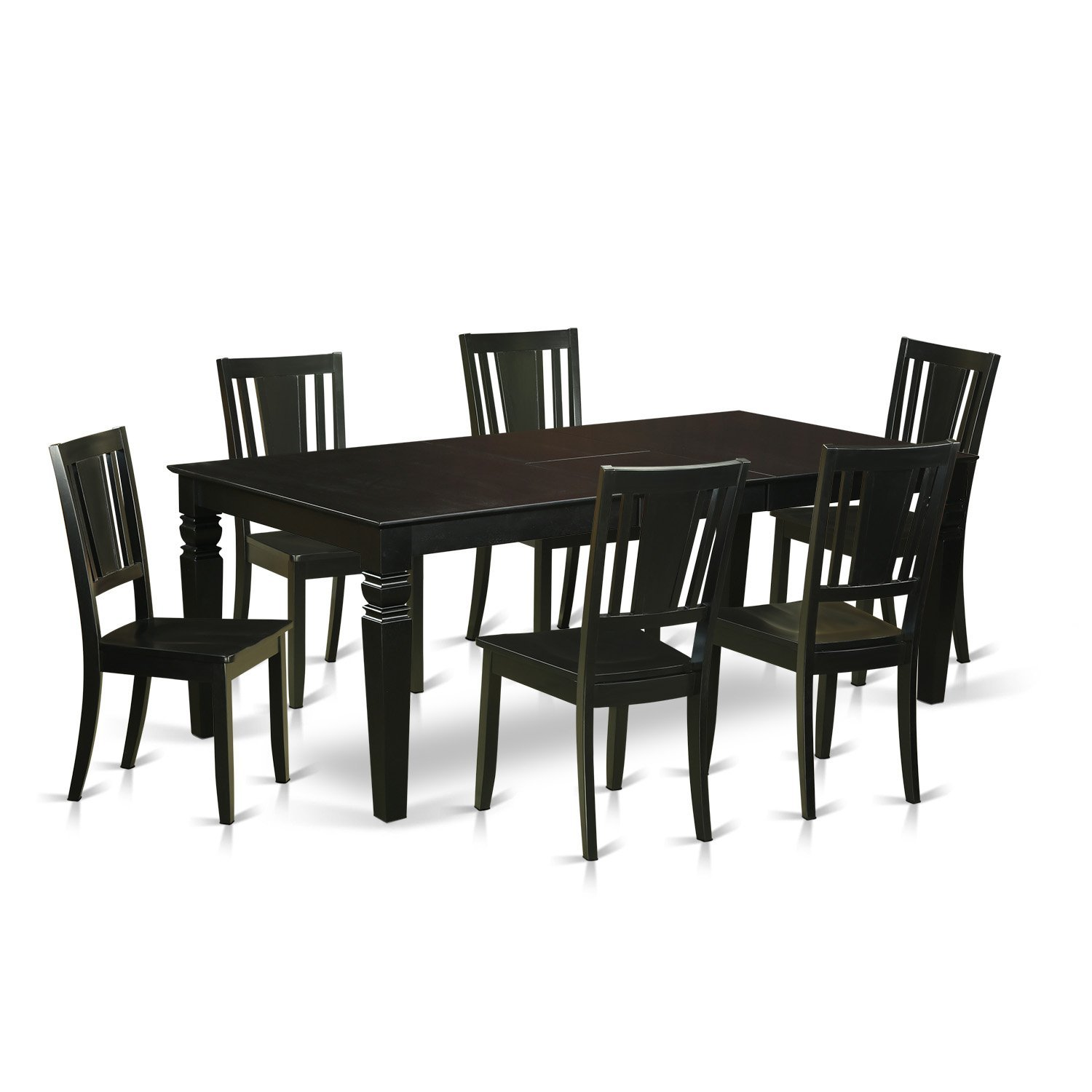 East West Furniture LGDU7-BLK-W 7 Piece Dining Table and 6 Wood Kitchen Chairs, Black