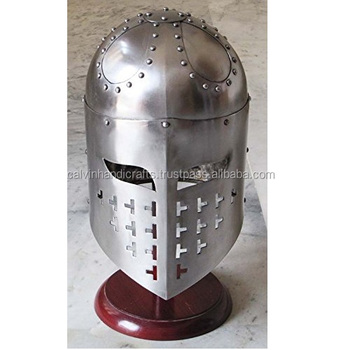 Crusader Great Helm Brass Antique Medieval Knights Templar Helmet Armor  Chmh30044 - Buy Medieval Helmets,Roman Armor Helmet,Spartan Helmets Product  on