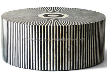 Exceptionnel Bone Inlay Black Zebra Line Round Coffee Table