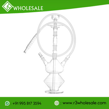 R3 16 inch Tall Single Or Double Hose Hand Blown Borosilicate Glass Hookah