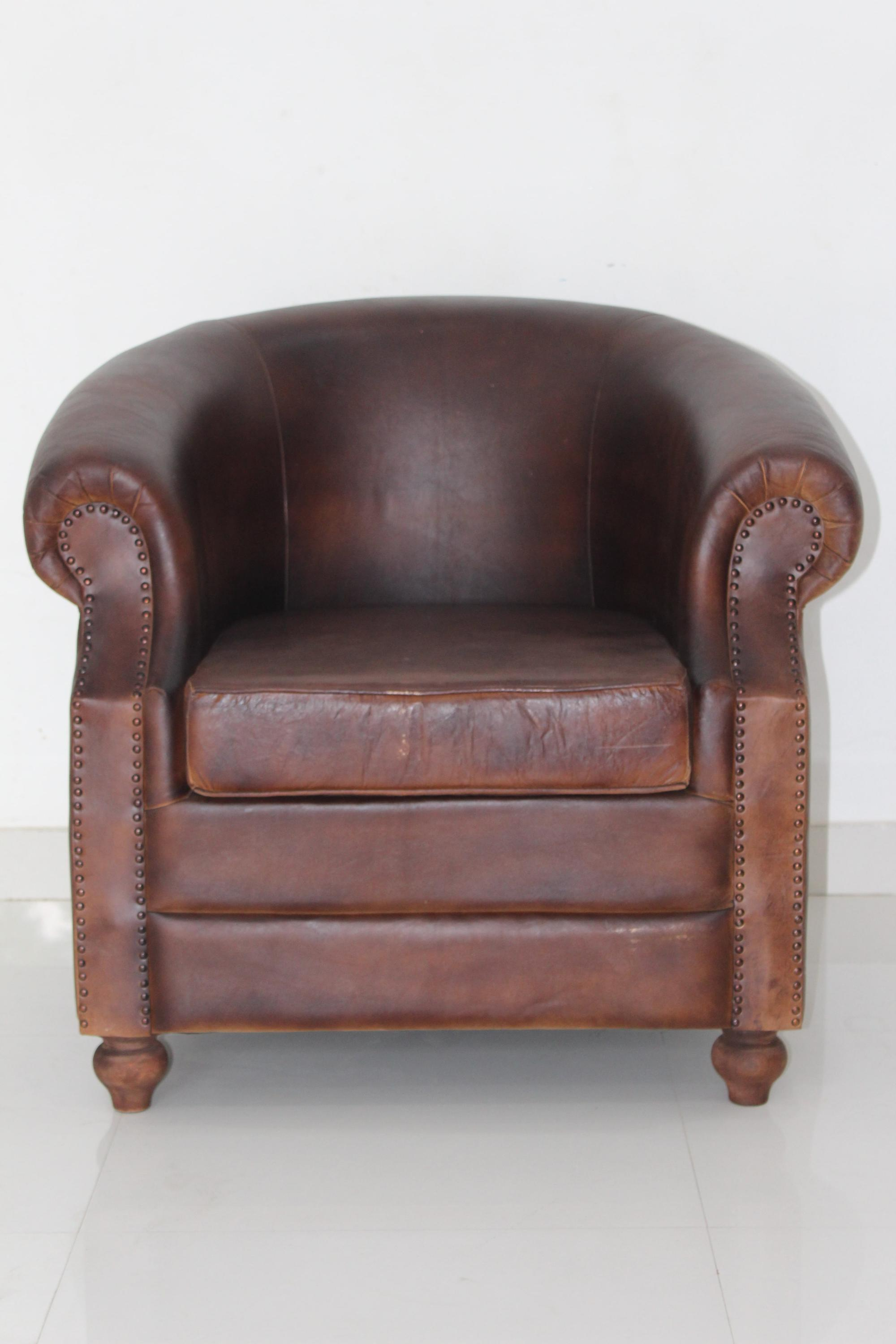 Beautiful Vintage Genuine Leather Club Chair 2017 New Design Living Room Single Seat  Sofa Arm Chair