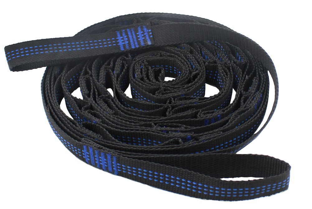 """Set of 2 Hammock Straps,Beatou 110"""" Length Tree Hanging Strap,550 LBS Breaking Strength for Camping, Hiking or Backyard,Black/Blue"""