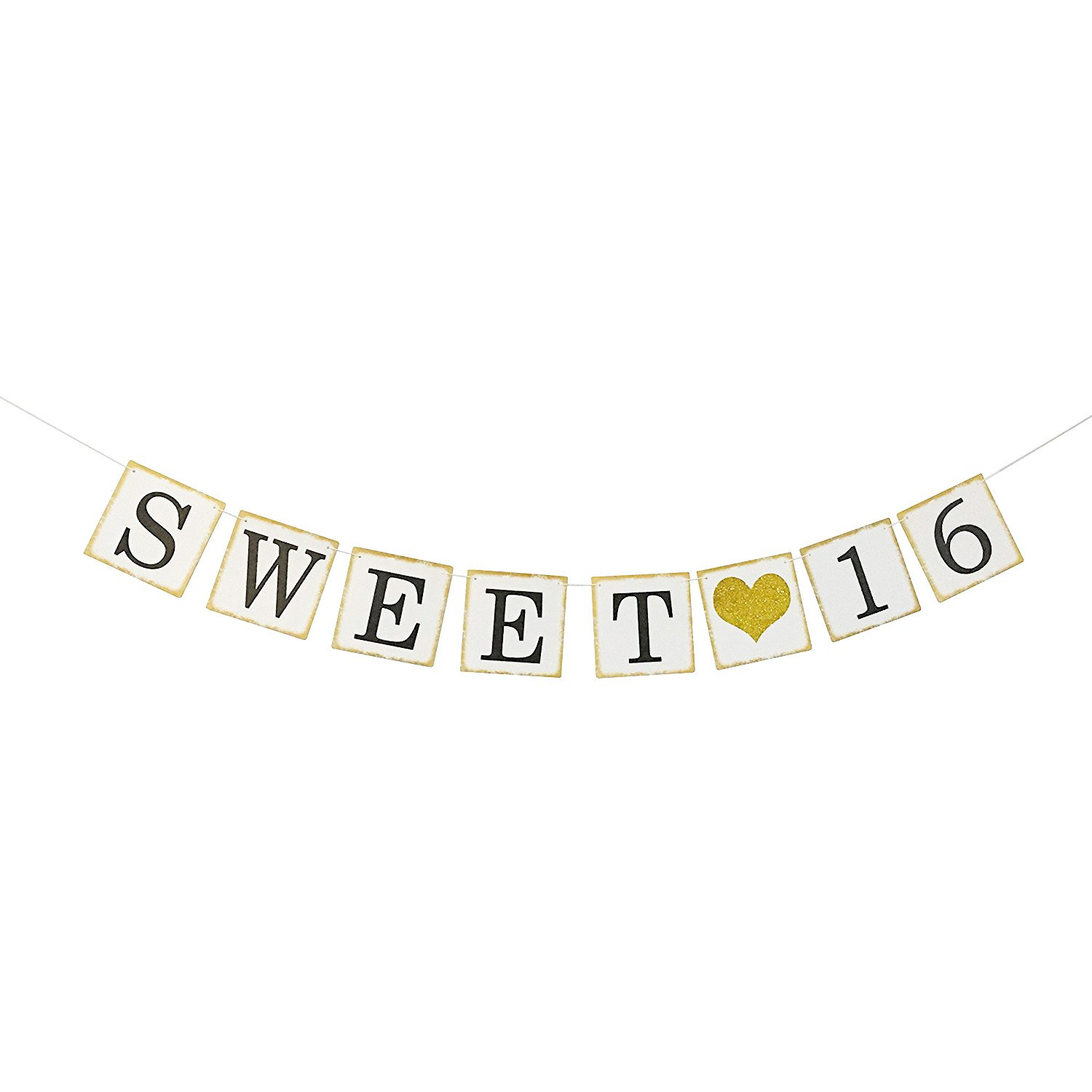 Get Quotations Sweet 16 Birthday Banner Gold Glitter Sixteen Decorations Party Favors Supplies