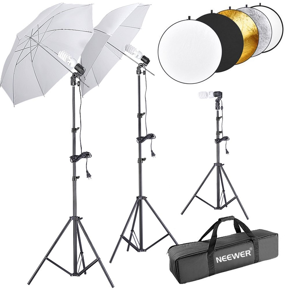 Neewer 600W 5500K Umbrella Reflector and Stand Kit Includes:(2)White Umbrella,(1)5-in-1 Reflector(2)6 feet and(1)1.6 feet Light Stand,(3)45W Bulb(3)Light Holder and(1)Carry Case for Studio Photography
