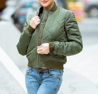 2018 Quilting Olive Green Bomber Jacket Women Coat Fashion Zipper Long Sleeve Winter Jacket