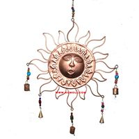 Amazing large sun with 5 hanging bells & windchime for door antique wind chime