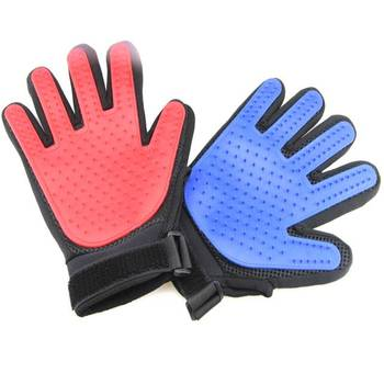 Single Side 180Pin Pet Grooming Glove With Adjustable  Hook & Loop