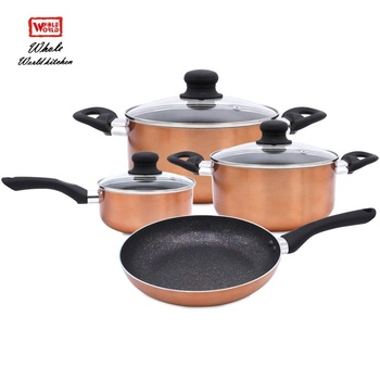 Custom spiral aluminum non stick kitchenware China distributors and cookware set with silicone handle