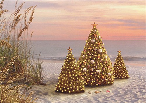 18 Christmas Cards and Embossed Envelopes, Decorated Trees on the Beach