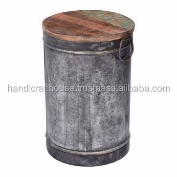 Bon Industrial Vintage Iron Metal Round Drum Coffee Table