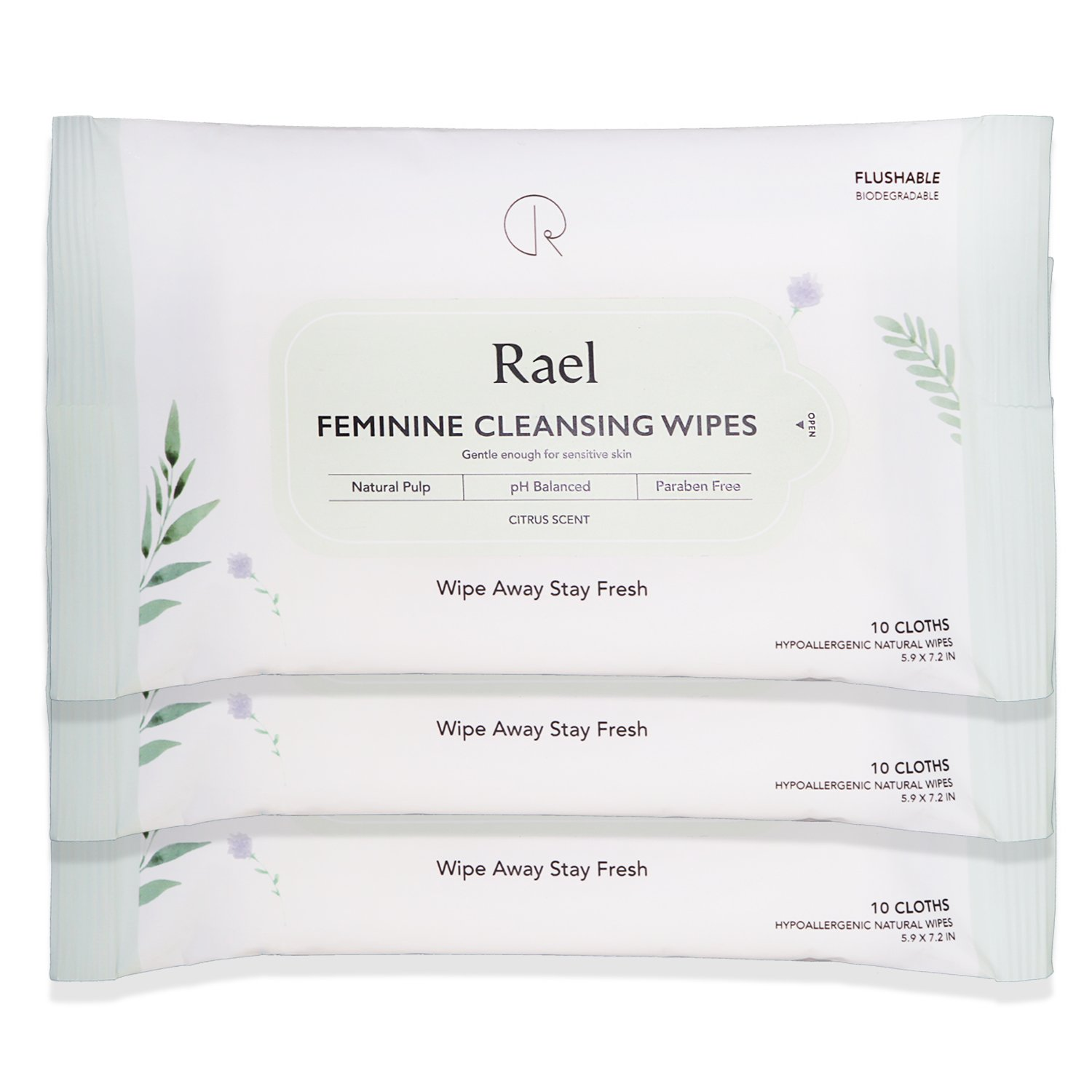 Rael Feminine Wipes with natural ingredients, use day or night, flushable, pH-balanced, gentle and safe on the skin. (3 Pack)