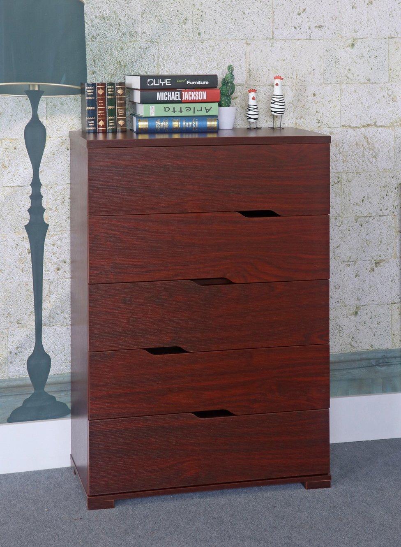 Smart home K16014 Eltra K Series Diagonal Open Handles 5 Drawers Chest Dresser (5 Drawers, Mahogany)