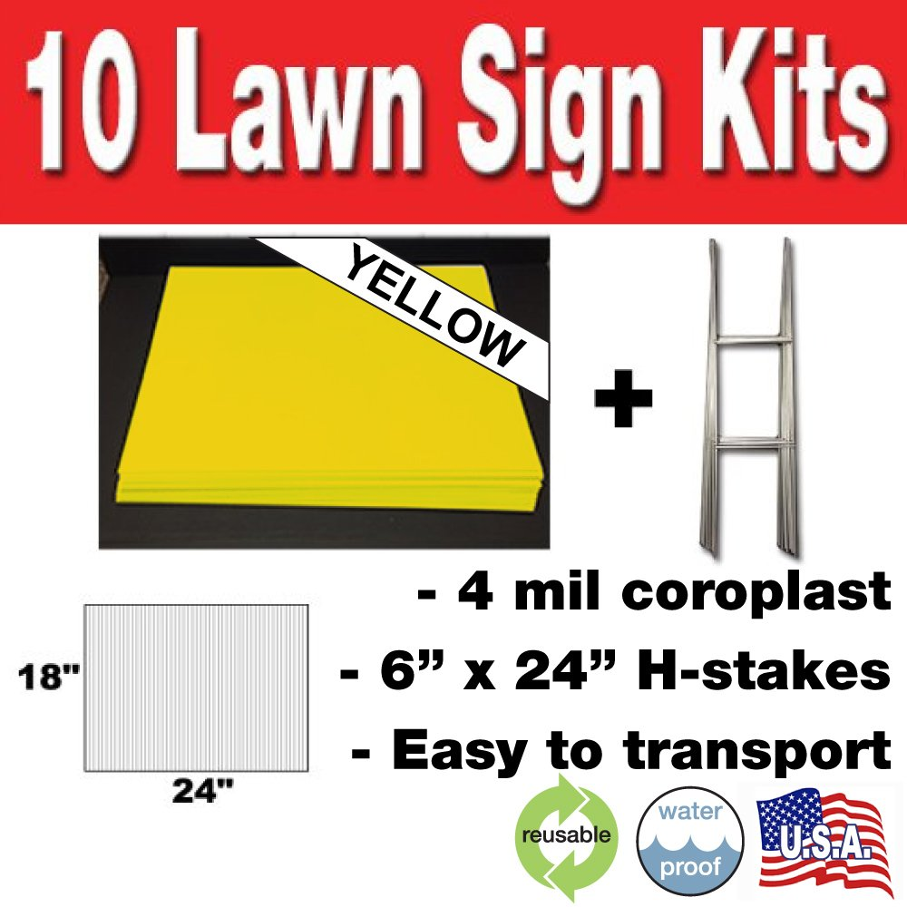 10 Quantity Blank Yellow Yard Signs 18x24 with H-stakes for Garage Sale Signs, For Rent, Open House, Estate Sale, Now Hiring, or Political Lawn Sign