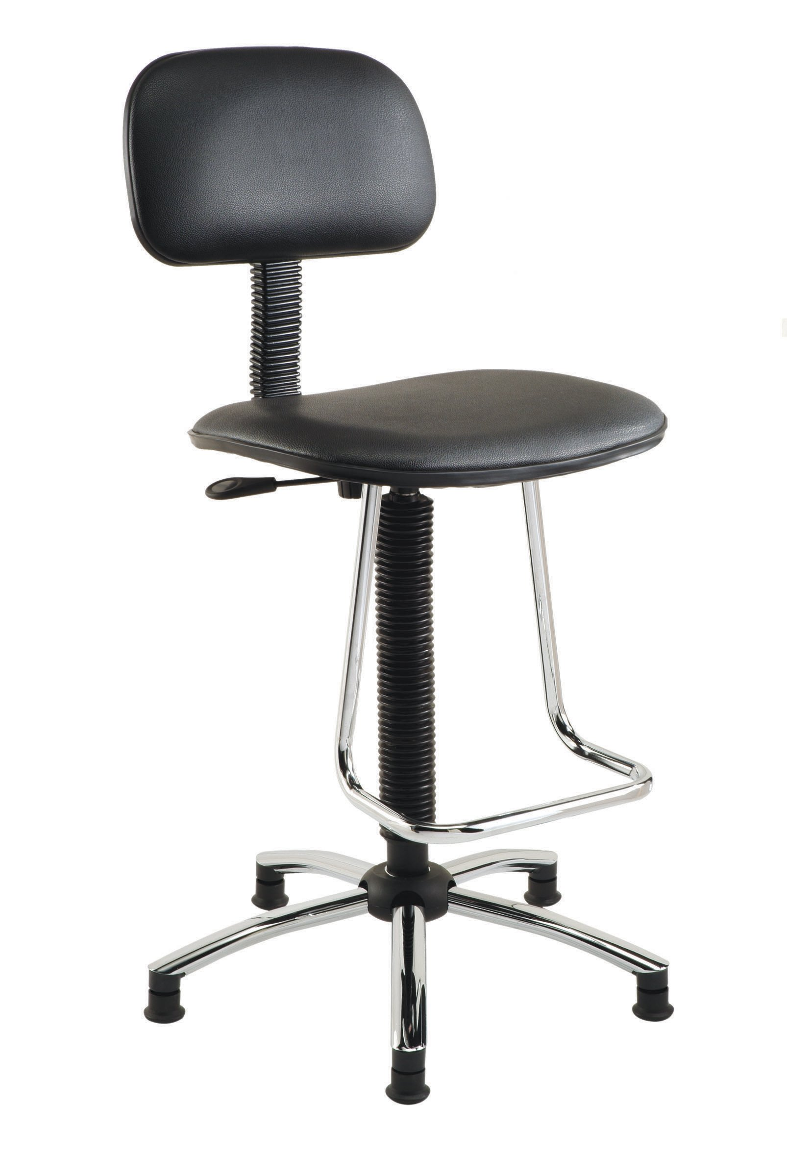 Nexel Office Stool With Teardrop Footrest, Black Vinyl
