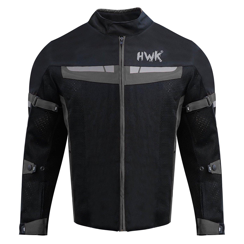 HWK Motorsports Direct Mesh Motorcycle Jacket Coat Motorbike Jacket Biker Cordura Waterproof CE Armoured Breathable 100% Waterproof Reissa Membrane 1 YEAR WARRANTY!! (Large, Black)