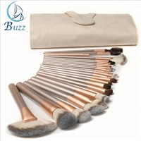 18Pcs Gold Soft Makeup Brushes Tools Cosmetic Beauty Makeup Brush Sets With Leather Case
