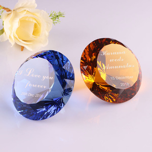 Cut diamond shape crystal diamonds with text engrave for wedding favors souvenirs gifts