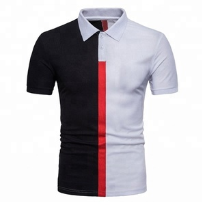 Black and white cut sew polo t shirt