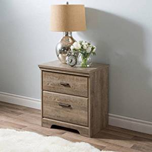 Storage Two Drawer Cabinet Side Table Nightstand with Metal Handles, Non Toxic, Extra Space, Tradition Style, Multiple Colors, Suitable for Bedroom, Living Room, Furniture,BONUS e-book (Weathered Oak)